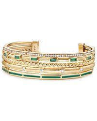 David Yurman - Stax Cuff With Diamonds, Green Enamel And Tsavorite In 18k Gold, 16.5mm - Lyst