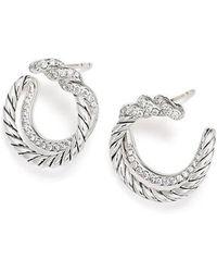 David Yurman - Continuance Hoop Earrings With Diamonds - Lyst