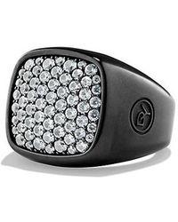 David Yurman - Pave Ring With Gray Sapphire And Black Titanium - Lyst
