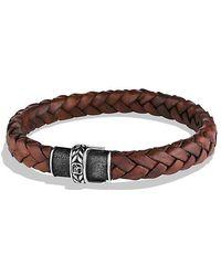 David Yurman | Chevron Narrow Woven Leather Bracelet In Brown, 8mm | Lyst