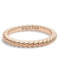 David Yurman | Dy Unity Cable Wedding Band In 18k Rose Gold, 2.45mm | Lyst