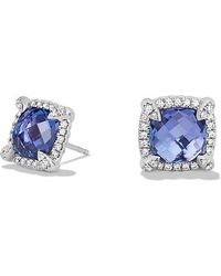 David Yurman - Châtelaine Pave Bezel Stud Earring With Tanzanite And Diamonds In 18k White Gold, 8mm - Lyst
