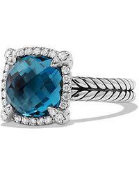 David Yurman - Chatelaine Pave Bezel Ring With Hampton Blue Topaz And Diamonds, 9mm - Lyst