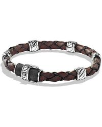 David Yurman - Cable Classic Leather Station Bracelet In Brown - Lyst