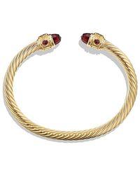 David Yurman - Renaissance Bracelet With Garnet In 18k Gold, 5mm - Lyst