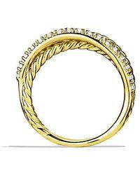 David Yurman - Crossover Ring With Diamonds In 18k Gold - Lyst
