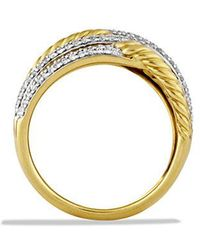 David Yurman - Labyrinth Triple-loop Ring With Diamonds In 18k Gold - Lyst