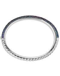 David Yurman - Limited Edition Pavé Cable Bangle With Color Change Garnets In White Gold - Lyst