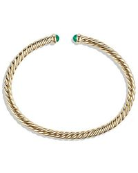 David Yurman - Cable Spira Bracelet With Emeralds In 18k Gold, 4mm - Lyst