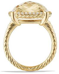 David Yurman - Chatelaine Pave Bezel Ring With Champagne Citrine And Diamonds In 18k Gold, 14mm - Lyst