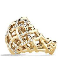 David Yurman | Venetian Quatrefoil Dome Ring With Diamonds In 18k Gold | Lyst