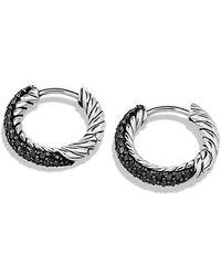 David Yurman - Petite Pavé Huggie Hoop Earrings With Black Diamonds - Lyst