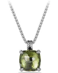 David Yurman - Châtelaine® Pendant Necklace With Green Orchid And Diamonds, 14mm - Lyst