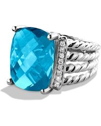 David Yurman - Wheaton Ring With Blue Topaz And Diamonds - Lyst