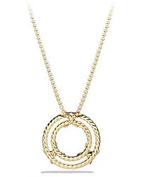 David Yurman - X Circle Pendant Necklace With Diamonds In 18k Gold - Lyst