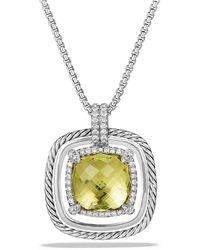 David Yurman - Châtelaine Pave Bezel Necklace With Lemon Citrine And Diamonds, 24mm - Lyst