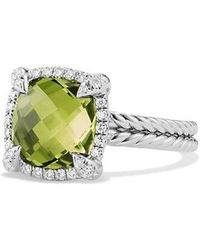 David Yurman | Châtelaine Pave Bezel Ring With Peridot And Diamonds In 18k White Gold, 9mm | Lyst
