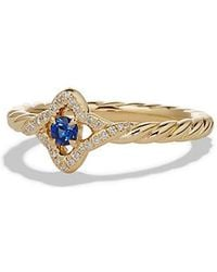 David Yurman - Venetian Quatrefoil® Ring With Blue Sapphire And Diamonds In 18k Gold - Lyst
