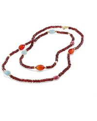 David Yurman - Dy Signature Bead Necklace With Garnet And Pink Tourmaline In 18k Gold - Lyst