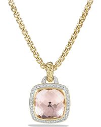David Yurman - Albion® Pendant With Morganite And Diamonds In 18k Gold, 14mm - Lyst