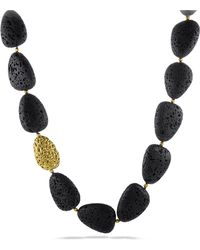 David Yurman - Dy Signature Lava Necklace With 18k Gold - Lyst