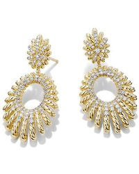 David Yurman - Tempo Double Drop Earrings With Diamonds In 18k Gold - Lyst