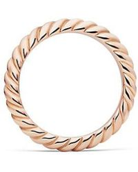 David Yurman | Dy Unity Cable Wedding Band In 18k Rose Gold, 3mm | Lyst