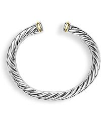 David Yurman - Sculpted Cable Bracelet With An Accent Of 18k Gold, 15mm - Lyst