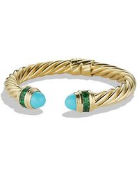 David Yurman - Renaissance Bracelet With Turquoise And Tsavorite In 18k Gold, 8.5mm - Lyst