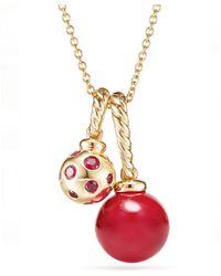 David Yurman - Solari Pendant Necklace In 18k Gold With Cherry Amber - Lyst