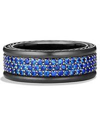 David Yurman - Streamline Three-row Pave Band Ring With Blue Sapphire And Black Titanium, 9mm - Lyst