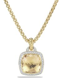 David Yurman - Albion® Pendant With Champagne Citrine And Diamonds In 18k Gold, 14mm - Lyst