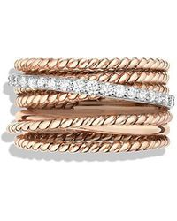 David Yurman | Crossover Wide Ring With Diamonds In 18k Rose Gold | Lyst