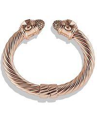 David Yurman - Renaissance Bracelet With Cognac Diamonds In 18k Rose Gold, 10mm - Lyst
