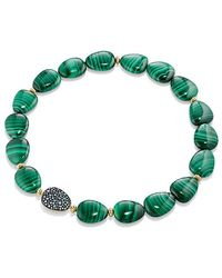 David Yurman | Delta Bead Necklace With Malachite, Color Change Garnet, Gray Sapphire And 18k Gold | Lyst