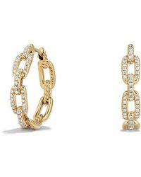 David Yurman - Stax Medium Chain Link Hoop Earrings With Diamonds In 18k Gold - Lyst