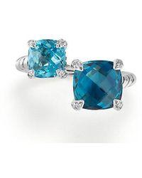 David Yurman - Chatelaine® Bypass Ring With Hampton Blue Topaz, Blue Topaz And Diamonds - Lyst