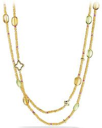 David Yurman | Dy Signature Bead Necklace With Citrine And Spessartite Garnet In 18k Gold | Lyst