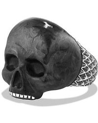 David Yurman - Carved Skull Ring With Forged Carbon - Lyst