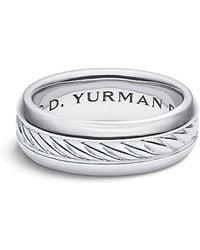 David Yurman - Cable Classics Inset Band Ring In Platinum, 8mm - Lyst