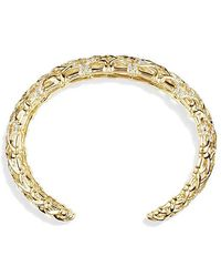David Yurman | Venetian Quatrefoil Narrow Cuff Bracelet With Diamonds In 18k Gold, 24mm | Lyst