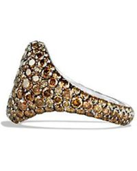 David Yurman | Pavé Pinky Ring With Cognac Diamonds In 18k White Gold | Lyst