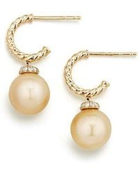 David Yurman | Solari Hoop Earrings With Diamonds And South Sea Golden Pearl In 18k Gold | Lyst