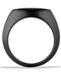 David Yurman - Exotic Stone Signet Ring With Black Onyx In Black Titanium - Lyst