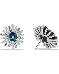 David Yurman - Starburst Earrings With Hampton Blue Topaz And Diamonds, 19mm - Lyst