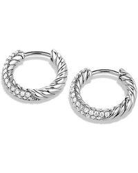 David Yurman - Petite Pavé Huggie Hoop Earrings With Diamonds - Lyst