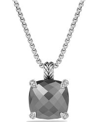 David Yurman - Châtelaine® Pendant Necklace With Hematine And Diamonds, 14mm - Lyst