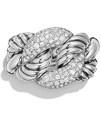 David Yurman | Belmont Curb Link Ring With Diamonds | Lyst