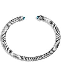 David Yurman - Cable Classics Bracelet With Blue Topaz And Diamonds, 5mm - Lyst