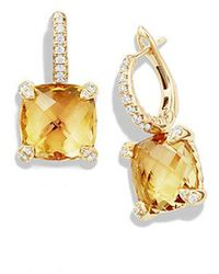 David Yurman | Châtelaine® Drop Earrings With Citrine And Diamonds In 18k Gold | Lyst